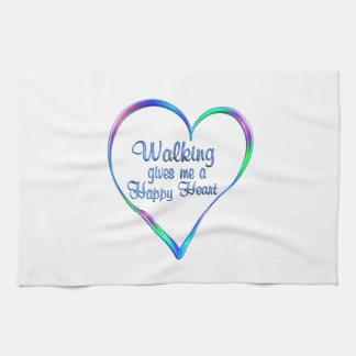 Coeur heureux de marche serviettes pour les mains