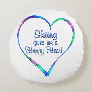 Coeur heureux de ski coussins ronds