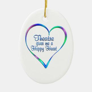 Coeur heureux de théâtre ornement ovale en céramique