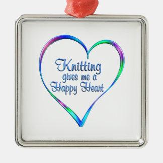 Coeur heureux de tricotage ornement carré argenté