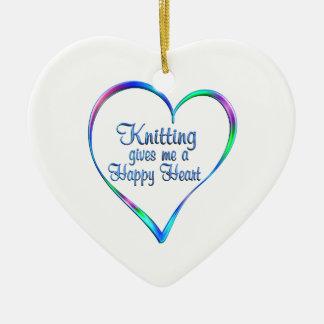 Coeur heureux de tricotage ornement cœur en céramique