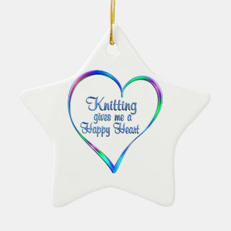 Coeur heureux de tricotage ornement étoile en céramique