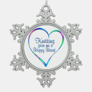 Coeur heureux de tricotage ornement flocon de neige pewter