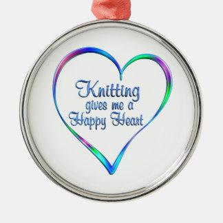 Coeur heureux de tricotage ornement rond argenté