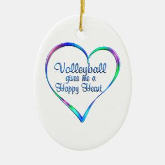 Coeur heureux de volleyball ornement ovale en céramique