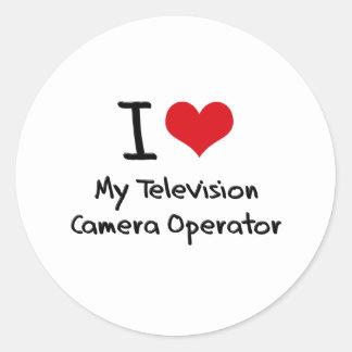 Coeur I mon opérateur de caméra de télévision Adhésif Rond