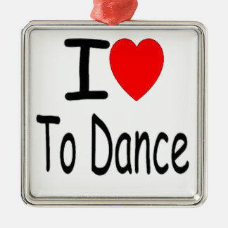 coeur i pour danser b ornement carré argenté