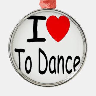 coeur i pour danser b ornement rond argenté