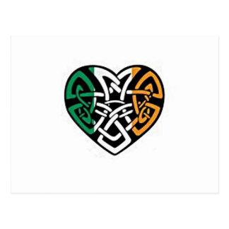 Coeur irlandais de drapeau cartes postales