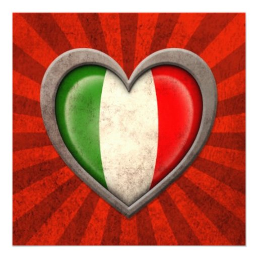 Coeur italien âgé de drapeau avec les rayons léger cartons d'invitation