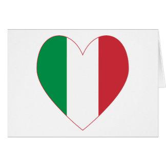 Coeur italien de drapeau carte de vœux