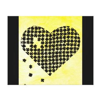 Coeur jaune de puzzle toiles tendues