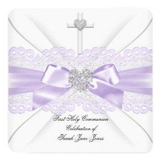 Coeur lilas de blanc de dentelle de première carton d'invitation  13,33 cm