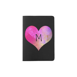 Coeur lumineux d'aquarelle de roses indien avec le protège-passeports