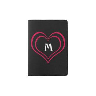 Coeur lumineux de roses indien et de noir avec le protège-passeport