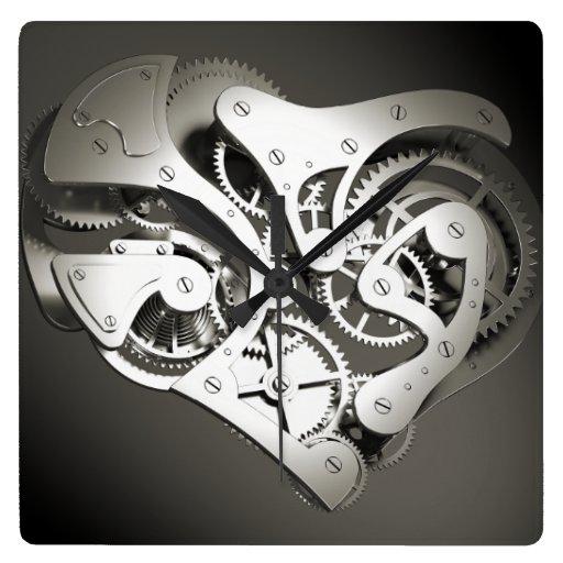 Coeur mécanique vintage de Steampunk - B&W Horloges Murales