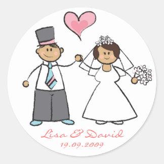 Coeur mignon d'amour de marié de jeune mariée de adhésifs ronds