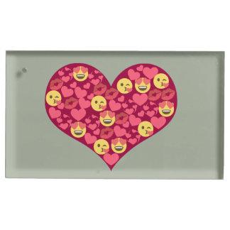 Coeur mignon d'Emoji de lèvres de baiser d'amour Porte-carte De Table