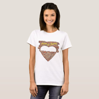 Coeur, mur de briques, T-shirt - insérez le texte