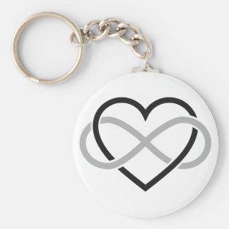 Coeur noir avec le signe d'infini porte-clé rond