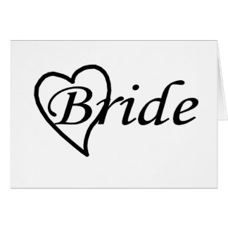 Coeur noir de jeune mariée carte