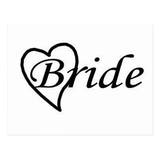 Coeur noir de jeune mariée carte postale