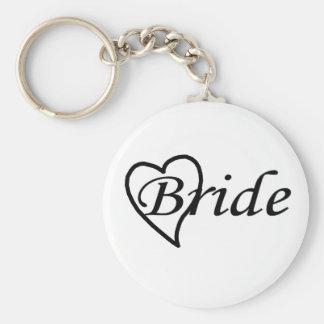 Coeur noir de jeune mariée porte-clef