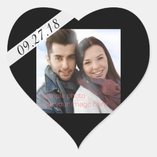 Coeur noir de photo de date de mariage sticker cœur