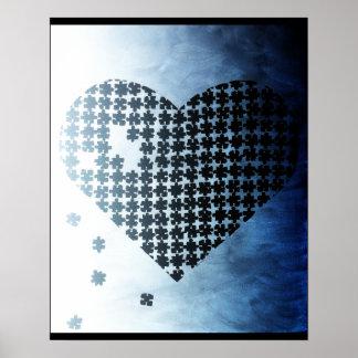 Coeur noir et blanc de puzzle affiches