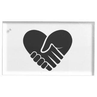 Coeur noir relié par amour porte-cartes de  table