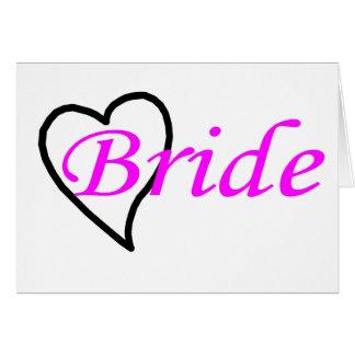 Coeur noir rose de jeune mariée carte de vœux