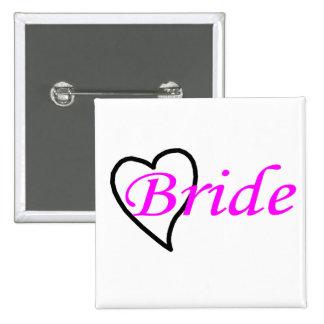 Coeur noir rose de jeune mariée pin's