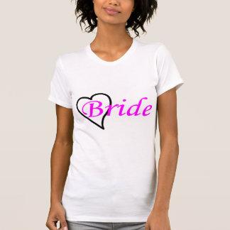 Coeur noir rose de jeune mariée t-shirts