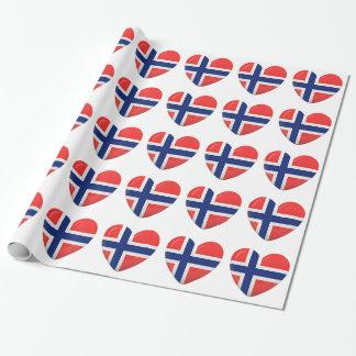 Coeur norvégien de drapeau de Scandinave de la Papiers Cadeaux Noël