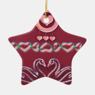 coeur ornement étoile en céramique