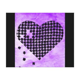 Coeur pourpre de puzzle toiles tendues sur châssis