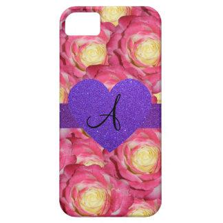 Coeur pourpre de scintillement de rose de rose de étuis iPhone 5