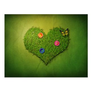 Coeur romantique d herbe - carte postale