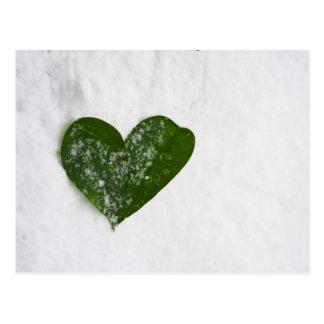 Coeur romantique de neige de l'hiver de la nature  cartes postales