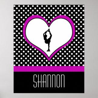 Coeur rose avec le patinage artistique chic de poster