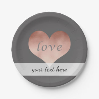 coeur rose clair élégant des textes d'amour de assiettes en papier