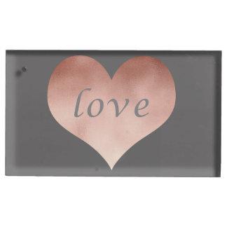 coeur rose clair élégant des textes d'amour de porte-carte de table