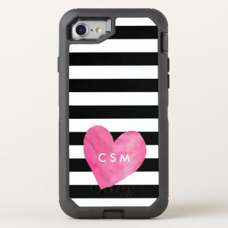 Coeur rose | d'aquarelle barré coque otterbox defender pour iPhone 7