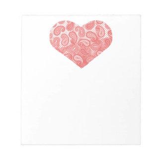 Coeur rose de corail de Paisley Blocs Notes