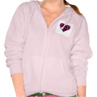 Coeur rose de fuchsia sweatshirts avec capuche