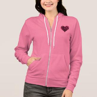 Coeur rose de fuchsia veste à capuche