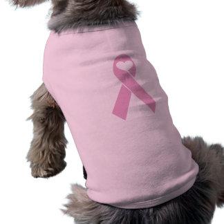 Coeur rose de ruban t-shirt pour chien