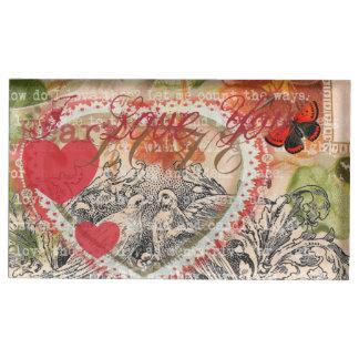 Coeur rose d'inséparables porte-photo
