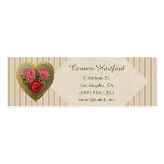 Coeur rose victorien et toile rayée carte de visite petit format