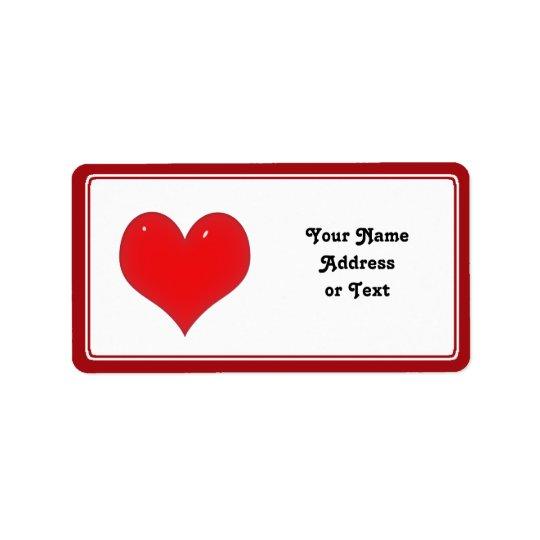 Coeur rouge brillant de l'amour étiquette d'adresse